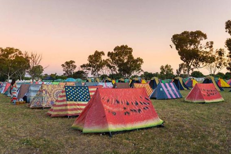 row of tents at music festival in australia