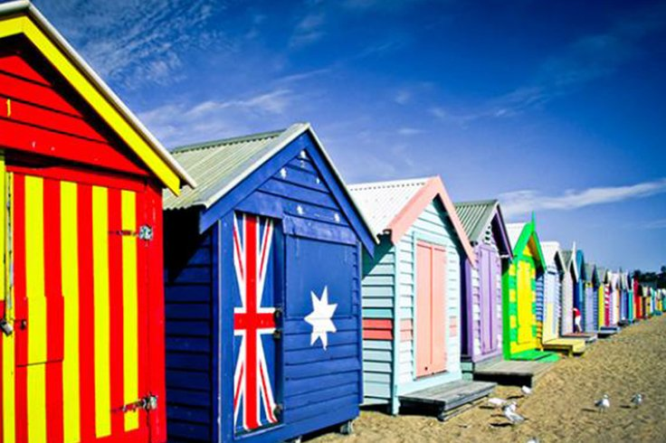 Painted beach huts in Australia
