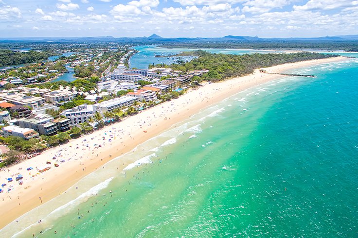 aerial view over noosa